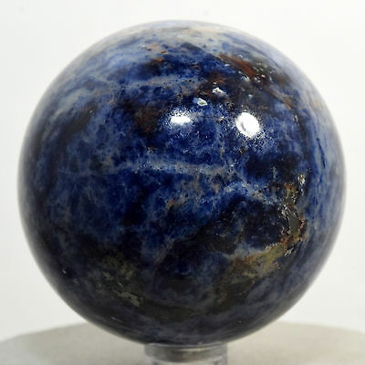 """2.4"""" Natural Blue Sodalite Sphere Gemstone Crystal Mineral Ball - Africa + Stand"""