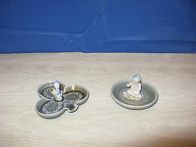 Vintage Wade Irish Porcelain Leprechaun Shamrock Jewelry Dish Lot of 2