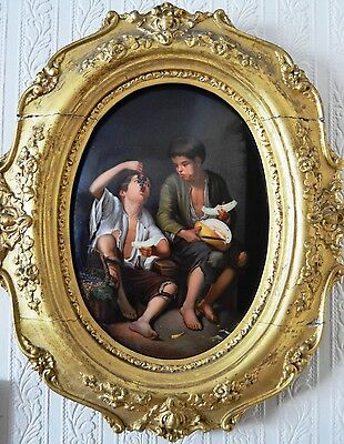 Berlin Kpm Oval Plaque The Grape And Melon Eater Original Handmade Porcelain