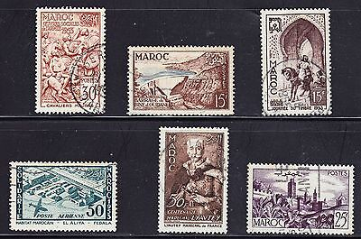 French Morocco 1953/54 - 6 different used Stamps