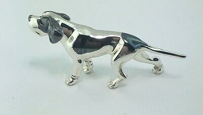 Sterling silver & burnished tiny Saturno Pointer figurine, imported from Italy