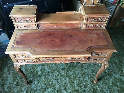 Fine Edwardian Bonheur Du Jour Solid Mahogany Writing Desk Leather Top Project