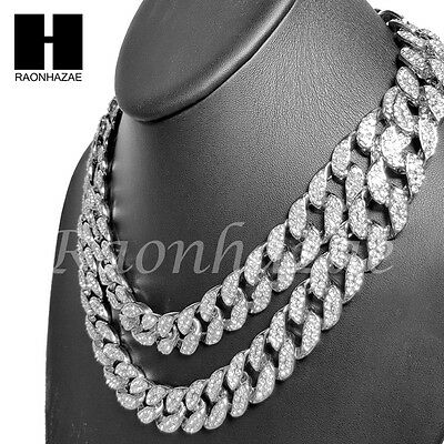 """Iced Out Rhodium PT 15mm 8.5"""" - 24"""" Miami Cuban Choker Chain Necklace Bracelet"""