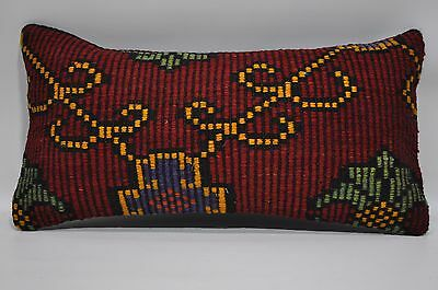 10x20 Embroidered Kilim Pillow Throw Pillow 10x20 Decorative Kilim Pillow 155