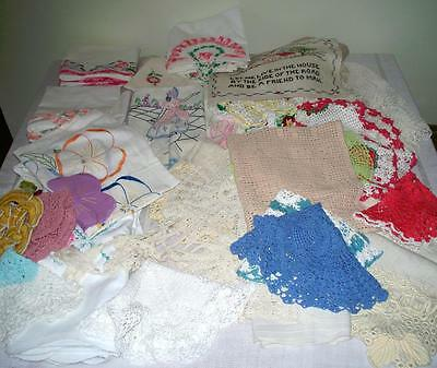 Vintage Linens Lot Pillow Cases Dining Sampler Piano Scarves Embroidered Crochet