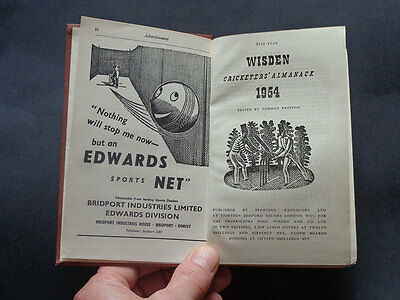 WISDEN CRICKETERS ALMANACK 1954: Cricket Clubs / Sport / Lords & Oval / 1954