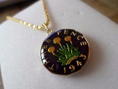 Vintage Enamelled Three Pence Coin 1943 Pendant & Necklace. Great Birthday Gift