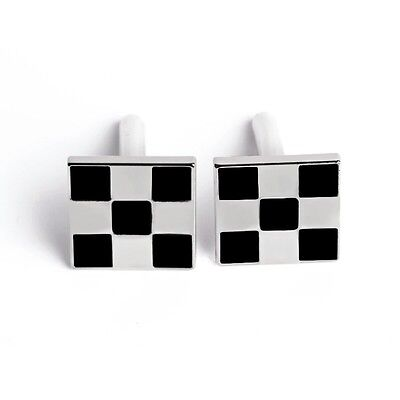 Checkered cufflinks black and silver mens jewelry cuff links