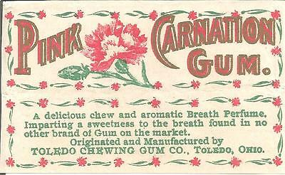 "Rare ""pink Carnation"" Chewing Gum Wrapper From ""toledo Chewing Gum Co."""