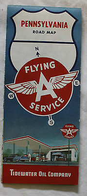 FLYING A SERVICE CARTE ROUTIERE ROAD MAP 1961 Edition - PENNSYLVANIA