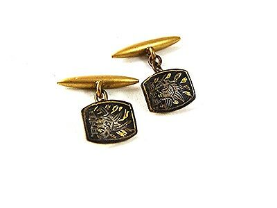 Vintage Small Goldtone & Black Damascene Cufflinks 61517