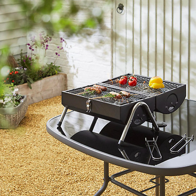 Portable Twin Grill Barrel BBQ Black Durable Summer Cooking Barbecue Camping