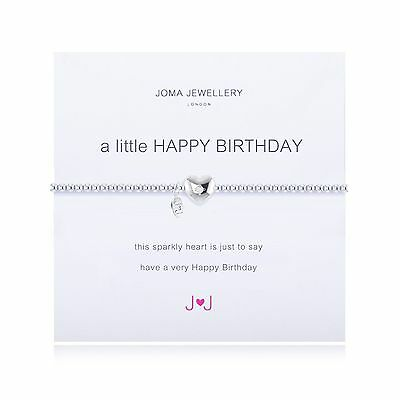 Joma Jewellery A Little Happy Birthday Bracelet Heart + Gift Bag Silver Plated