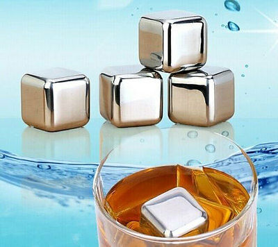 8 Pcs Home Glacier Rocks Ice Cube Cooler Stainless Steel Stones Reusable Whiskey