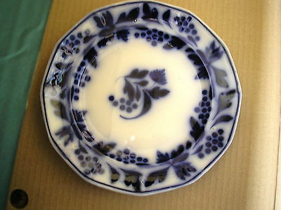 Flow Blue Brushstroke Ironstone Plate With 12 sided Rim.