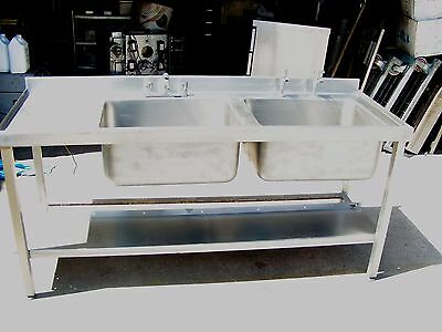 Commercial All Stainless Steel Double Bowl Catering Sink With Undershelf
