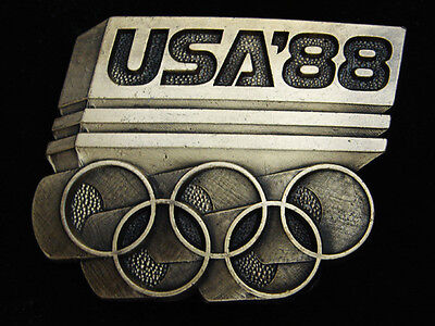 Qf09170 *nos* Vintage 1988 **usa Olympics** Sports Commemorative Belt Buckle
