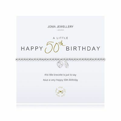 Joma Jewellery A Little Happy 50th Birthday Bracelet + Gift Bag Silver Plated