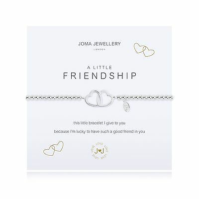 Joma Jewellery A Little Friendship Two Hearts Bracelet + Gift Bag Silver Plated