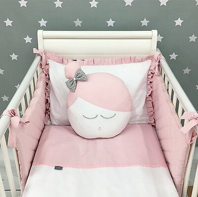 *EXCLUSIVE LUXURY BABY GIRL BEDDING SET - white & powder pink; for cot & cot bed