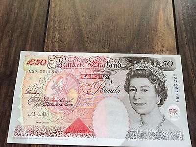 UK £50 FIFTY POUNDS NOTE 1994 CRISP G.E.A. Kentfield. C27 261184. UNC.