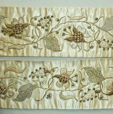 Silk Satin Gold and Silver Metal Embroidery