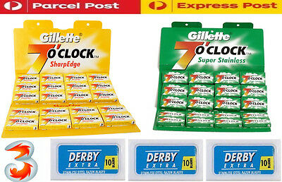 New Gillette Derby Sword Stainless Steel Double Edge Safety Razor Shaving Blades