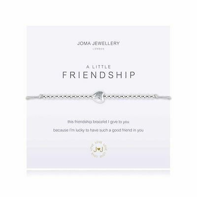 Joma Jewellery A Little Friendship Bracelet Grey + Gift Bag Silver Plated NEW