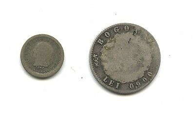 2 coins from Colombia-1876 5 centavos-KEY DATE and 1851 2 reales