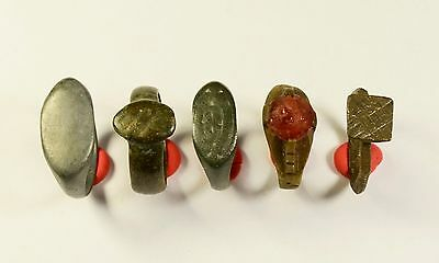 Lot Of 5 Roman / Medieval Decorated Wearable Rings - Great Artifacts