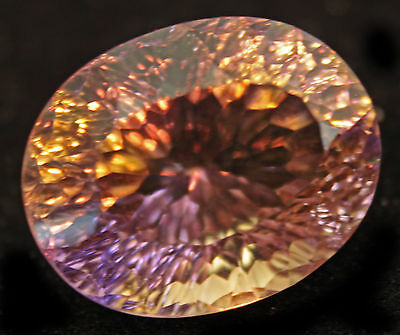 19.05Ct. Flawless Natural 19X15X12 Mm. Aaa Bi-Color Ametrine Oval Concave Cut