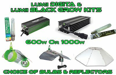 600w Lumii Digita Ballast 1000w Lumii Black, Cooltube Parabolic & Grow Kit