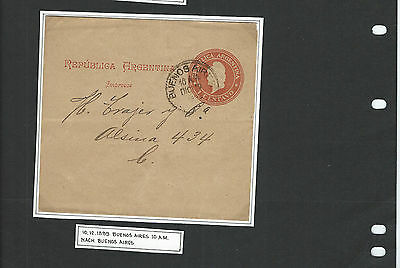Argentina-Stationary- 1899-Old Wrapper-Internal Ba Strike-One Cent Red Rate