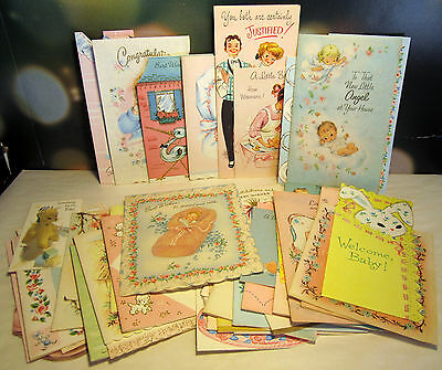 Cards Baby Congratulations Greeting 40 vintage Mid-Century 1950s color upcycle