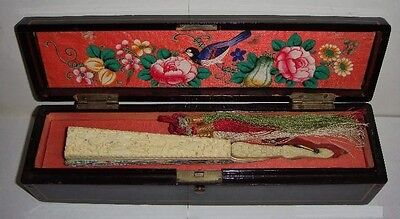 Antique Chinese Hand Fan (1000 faces). 19th Century. Box Included.