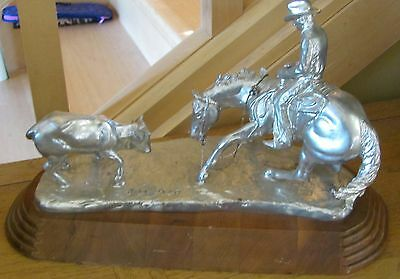Jim Reno Western Cutting Horse Sculpture Trophy Signed