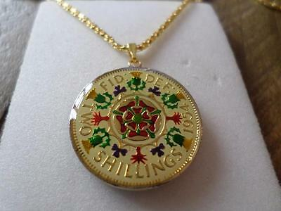 Vintage Enamelled Two Shilling Coin 1954 Pendant & Necklace. Great Birthday Gift