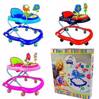 Baby 3 Height Adjust Walker First Steps Activity + Musical, Toy and light