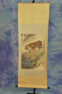 Vintage Japanese wall hanging scroll with hand-painted tiger image - 162 x 58 cm