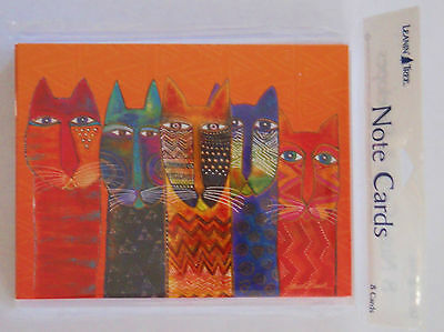 Laurel Burch ~ Colorful Cats ~ Set of 8 Blank Notecards w/ Envelopes ~ NWT