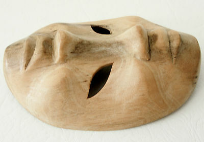 CARVED WOODEN MASK Two Faced ~ Happy and Sad ~ Vintage ~ Wall Mask