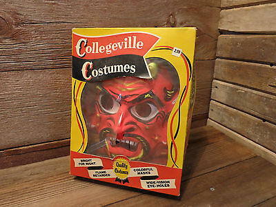 Vintage RARE DEVIL MASK Halloween Costume Original Box ADULT SIZE LARGE 42-44!