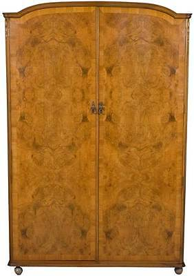 Vintage Antique Style Large Walnut Armoire Wardrobe Closet Light Wood Locking
