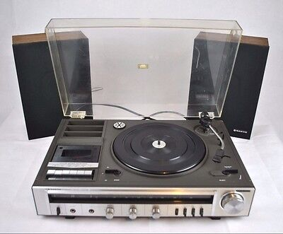 Vintage Sanyo Music Centre G 1004 Turntable Cassette Deck MC-104 Speakers Faulty