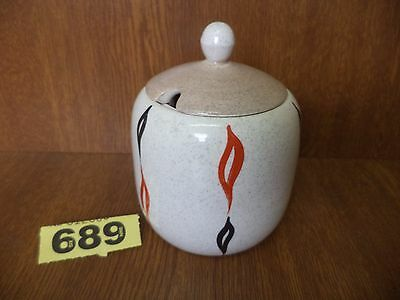 H.J Wood Ltd Art Deco Piazza Ware Hand Painted Jam / Preserve Pot / Jar