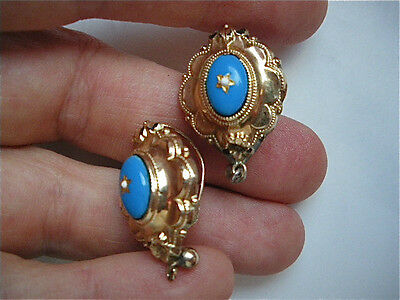 ANTIQUE XIX c.Victorian BIEDERMEIER German Austrian 10 kt GOLD enamel EARRINGS