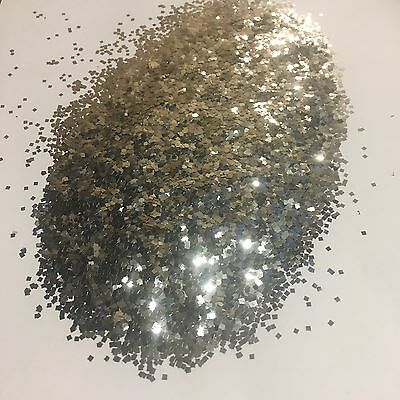 1kg Silver Glitter 062 1.5mm Square Double Sided Body Walls Kilogram Poly Flake