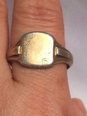 hallmark 9ct and silver HG&S man signet ring-uk size W