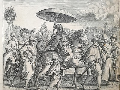 De Bry Asia Original Engraving People fr. Portugal in India - 1600