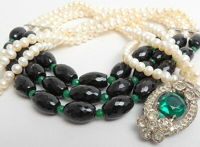Cultured Three 3 Strand Pearl Necklace With Onyx and Green Agate Vintage Clasp